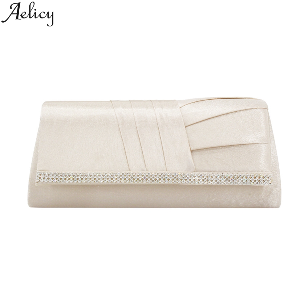 Aelicy Ladys Diamond  Ruched Handbag Satin Evening Bags Fashion Luxury Solid Hasp Minaudiere For Women Hot Sales Evening BagsAelicy Ladys Diamond  Ruched Handbag Satin Evening Bags Fashion Luxury Solid Hasp Minaudiere For Women Hot Sales Evening Bags