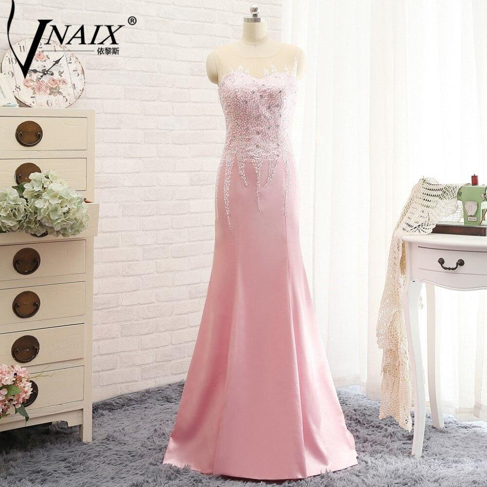 Vnaix e3125 Sheer Scoop плюс Размеры Розовый Русалка Вечерние платья бисером корсет этаж Длина атласная молния назад официальная Вечеринка платья