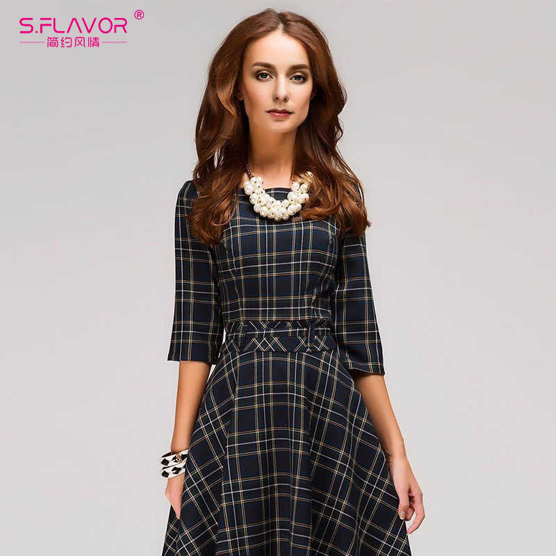S. FLAVOR женское осенне-зимнее мини-платье 2019 горячая Распродажа клетчатое печатное винтажное короткое vestidods с круглым вырезом женское шотландское стильное платье