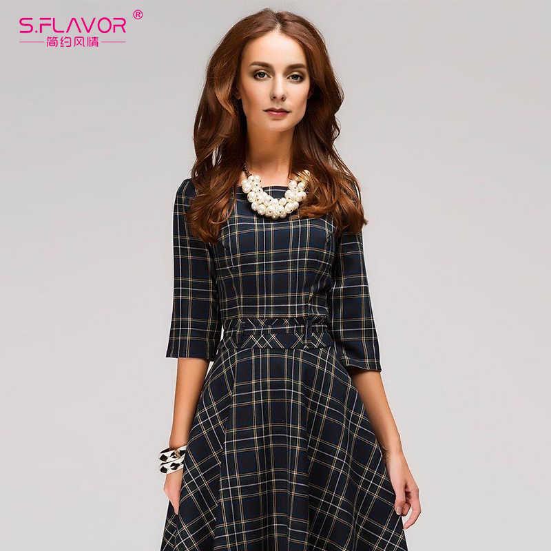 S. FLAVOR женское винтажное клетчатое платье мини элегантное осенне-зимнее короткое платье с круглым вырезом в шотландском стиле