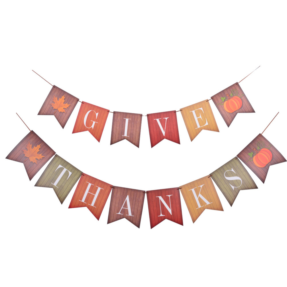 Us 3 54 9 Off Vintage Thanksgiving Decorations Hanging Give Thanks Paper Banner Bunting Garlands Maple Leaf Pumpkin For Thanksgiving Day Decor In