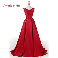 Vivian S Bridal Lace Beadings Satin A Line Evening Dress Sleeveless Formal Evening Gown Lace Up