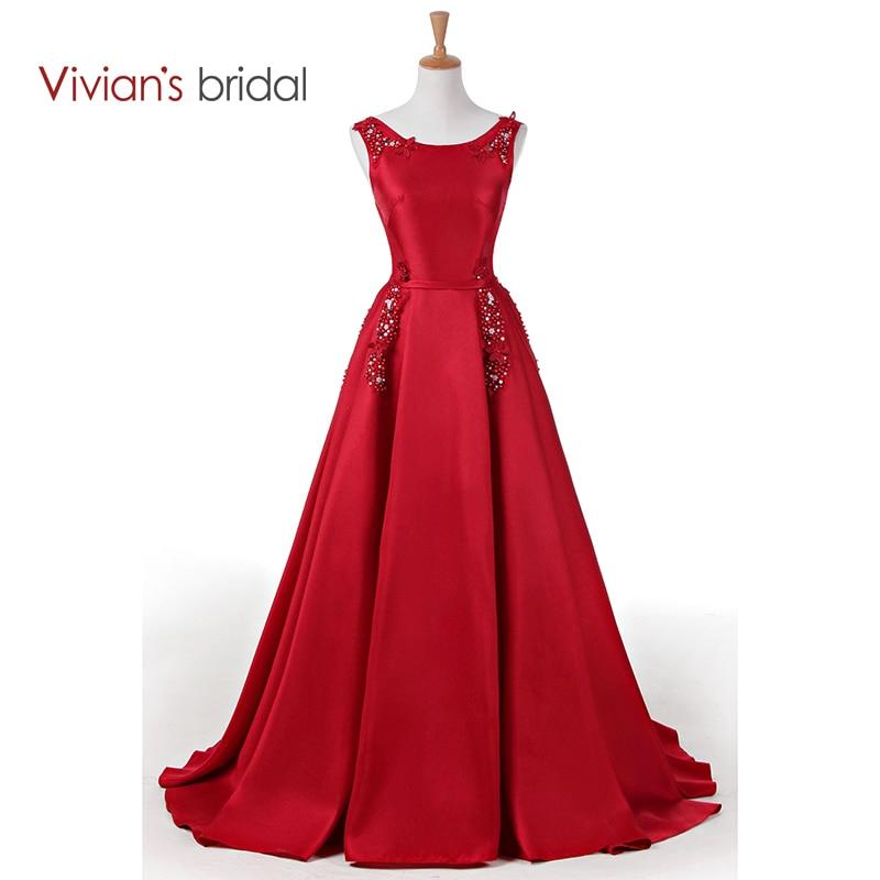 Vivian's Lace Liste in raso con scollo a barchetta abito da sera senza maniche abito da sera formale in pizzo abito da ballo lungo WD300-13