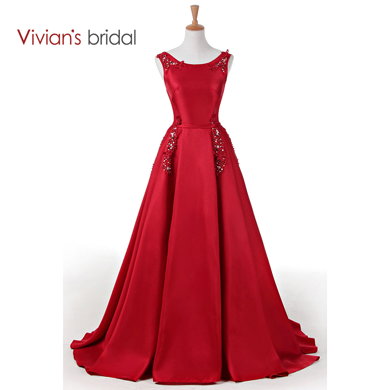 Vivian's Bridal Lace Gefrieste Satin A Line Abendkleid Ärmellos Formal Abendkleid Lace Up Abendkleid Lang WD300-13