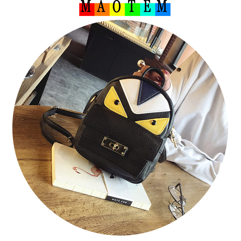 MAOTEM Fashion Women Mini Monster Backpacks,High Quality Multipurpose Female Backpack,Top-Hand Crossboday Bag for Girls fashion girls pet hand bag brooch set