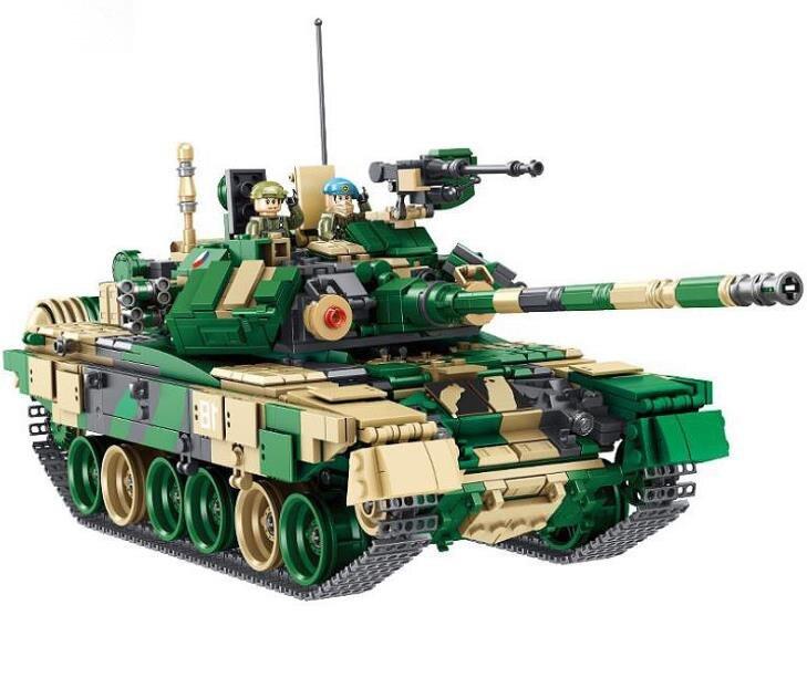 Modèle de réservoir militaire à grande échelle russie T90 blocs de construction de réservoir de bataille principal chiffres de soldat briques jouets