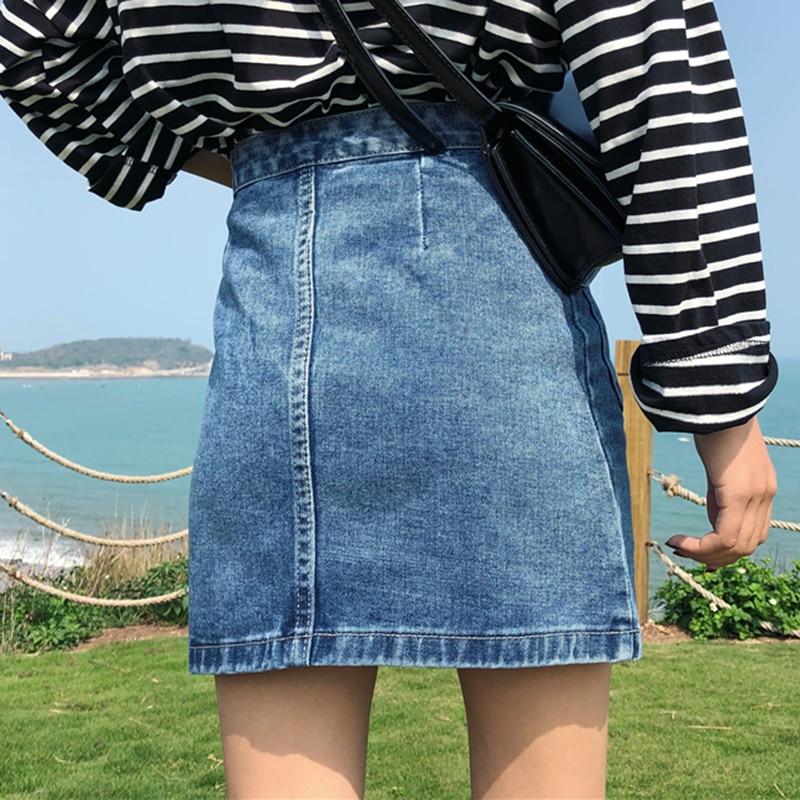 Image 2 - Vintage High Waist Denim Skirt Women Mini A Line Skirts Female Summer Blue Fashion Casual Zipper Big Pocket Jean skirts women-in Skirts from Women's Clothing