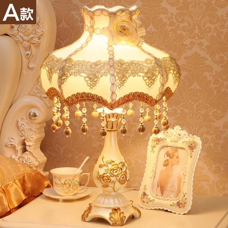 European style lamp creative luxury warm pastoral Princess bedroom bedside lamp lamp in Desk Lamps from Lights Lighting