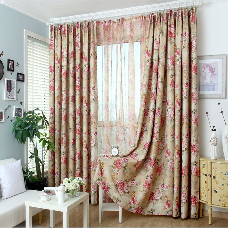 New 2017 Pastoral Printed Tulle Window Curtains For Living Room/ Bedroom  Blackout Curtains Window Treatment