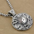 YIN YANG Dragon Flower 925 Sterling Silver Red CZ Mens Biker Pendant 9J005(Necklace 24inch)