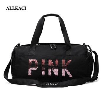 Women Pink Travel Bag Sequins Shoulder Ladies Waterproof Wash Handbag Weekend Portable Duffle Female Totes50