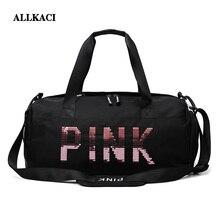 Women Pink Travel Bag Pink Sequins Shoulder Bag