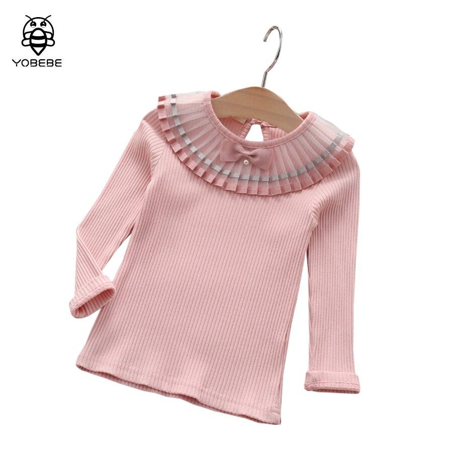 Girls Blouse Baby Girl Cotton Shirt Pleated Collar Shirts
