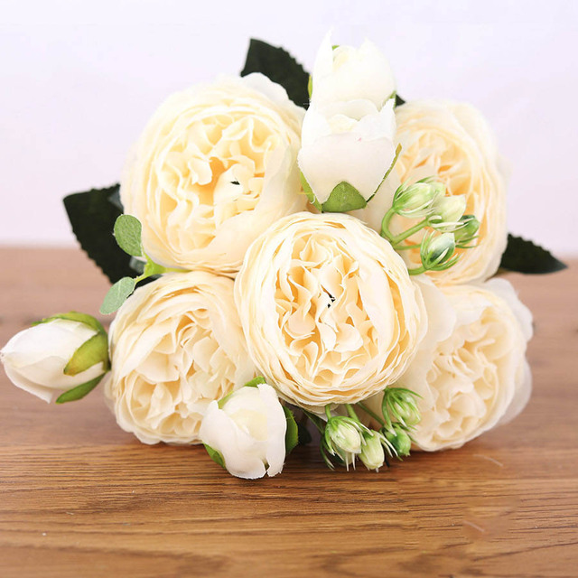 30cm Rose Pink Silk Bouquet Peony Artificial Flowers 5 Big Heads 4 Small Bud Bride Wedding Home Decoration Fake Flowers Faux 5