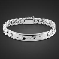Fashion 925 sterling silver bracelet for men Male cool rock punk style bracelet 100% Solid silver 10 mm 20 cm bracelet jewelry