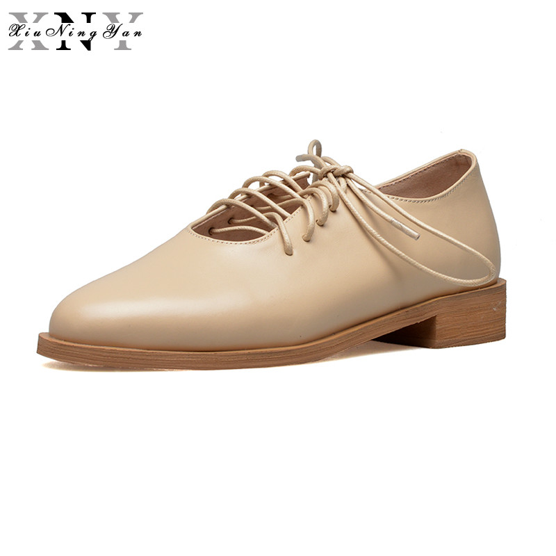 XiuNingYan 2018 Spring Autumn Genuine Leather Women Brogues Casual Shoes for Woman Oxfords Flats Heels Round Toe Plus Size 33-43 цены онлайн