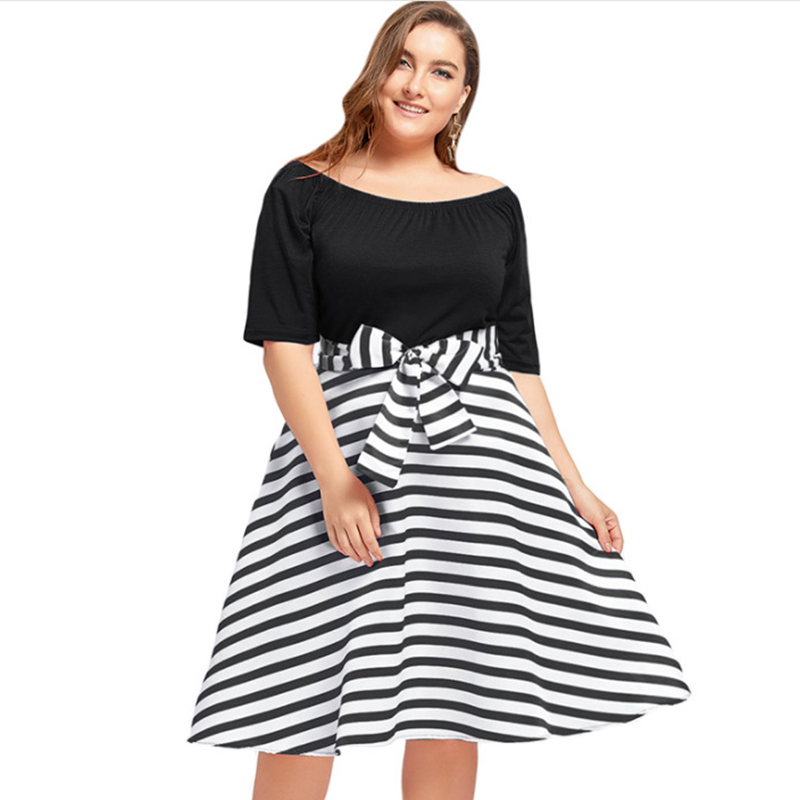 Plus Size 5XL O Neck Short Sleeves Stripe Belted Midi Dress Vintage Rockabilly Robe Mujer Women Party Dress Vestidos With Bow