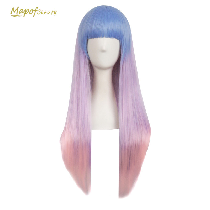 Hair Extensions & Wigs Hearty 28 Long Straight Wigs For Women Heat Resistant Falt Bangs Natural Ombre Wig Cosplay Costume Party Synthetic Hair Mapofbeauty Convenience Goods Synthetic Wigs