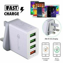 DSstyles 4 Multi-Port Fast Quick Charge QC 3.0 USB Hub Wall Charger Adapter UK Plug