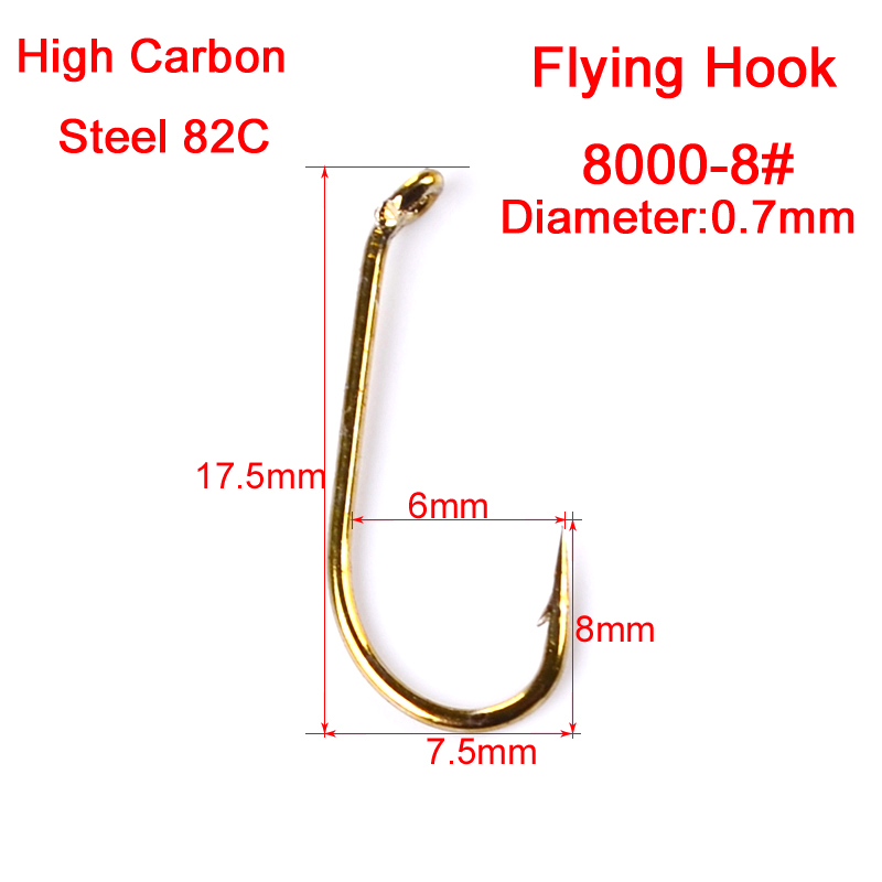 200pc fly fishing hook 8000 8 12 14 16 size fishhook fly for Fishing hook sizes for trout