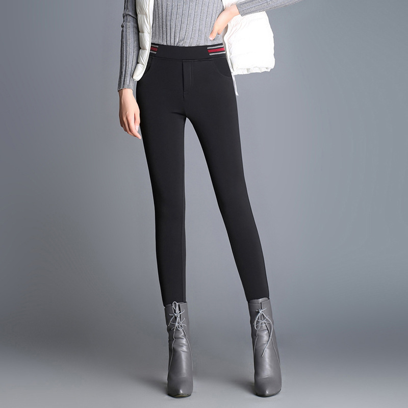 a28340a07fc Autumn and Winter Plus Size Pants Women Velvet Thick Warm Leggings Elastic High  Waist Pencil Skinny Ladies Work Long Trousers-in Pants   Capris from  Women s ...