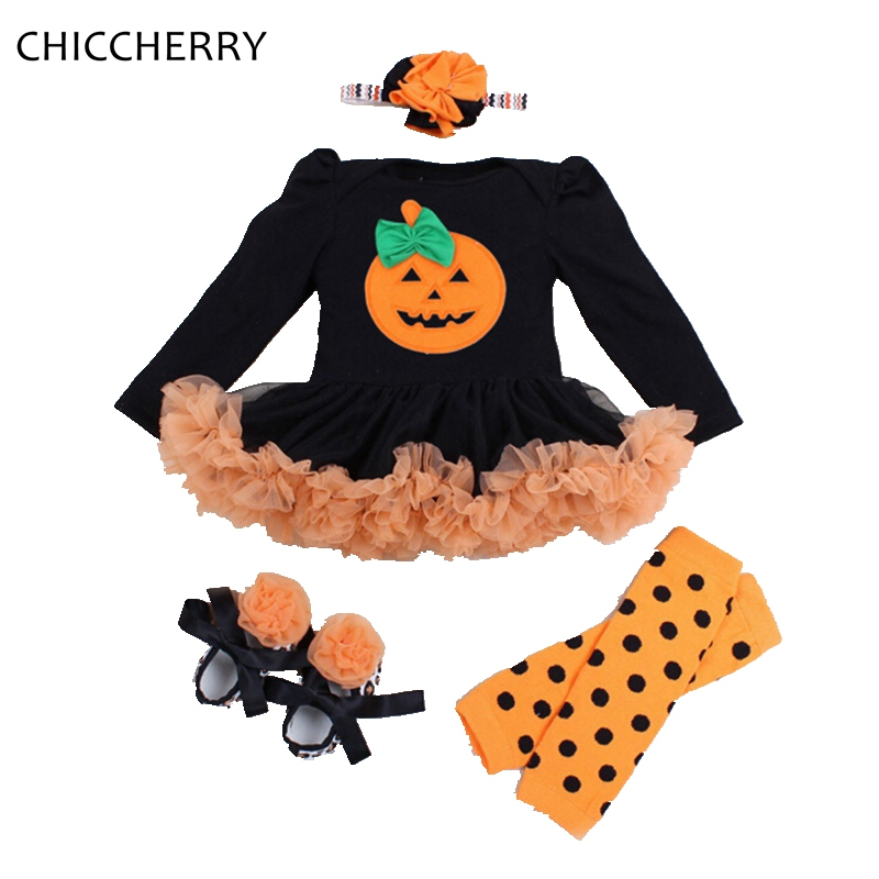 Infant Pumpkin Halloween Costume | Long Sleeve Baby Pumpkin Halloween Costumes Romper Dress Headband Leg Warmers Shoes Newborn Baby Girl Clothes Infant Clothing