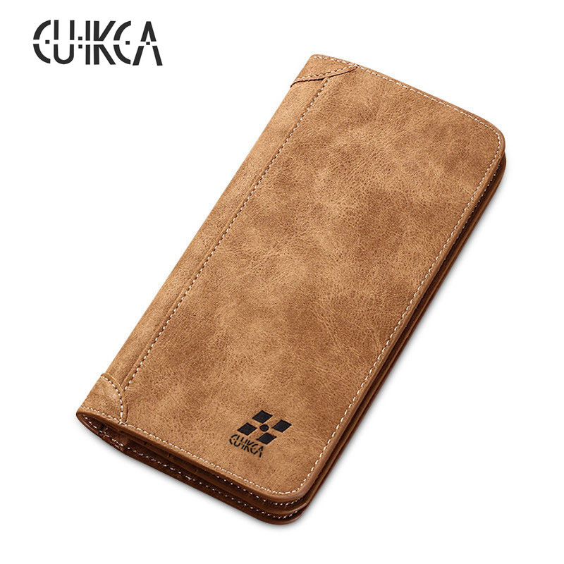 CUIKCA New Fashion Male Men Wallet Purse Nubuck Leather Retro Ultra-thin Long Wallet Handbag Billfold ID Credit Card Holders цена 2017