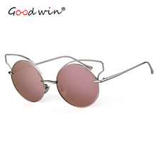Good Win Sunglasses Women Cat Eye Round Coating Lens Pink Cateye Sun Glasses For Ladies Fashion Rose Gold Hollow Shades