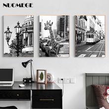 NUOMEGE Nordic Decoration Landscape Poster and Prints Giraffe Animal Tram Wall Art Canvas Painting Decorative Picture Home Decor