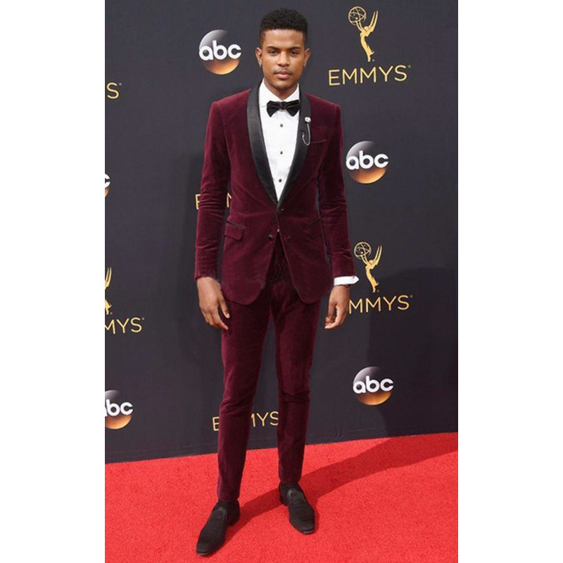 Sute For Formal: Men Suit With Pants Burgundy Velvet Groom Tuxedo