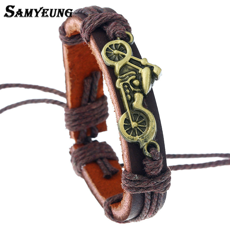 Samyeung Vintage Gold Motorcycle Leather Bracelets for Men Charm Cheap Male Bracelet Boy Braslet Women Pulseiras Turkish Jewelry