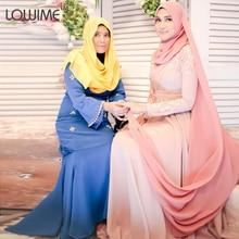 Middle Pink Evening Dress Long Sleeve Prom Dresses With HiJab DuBai Celebrity Dress vestido de festa Free Shipping