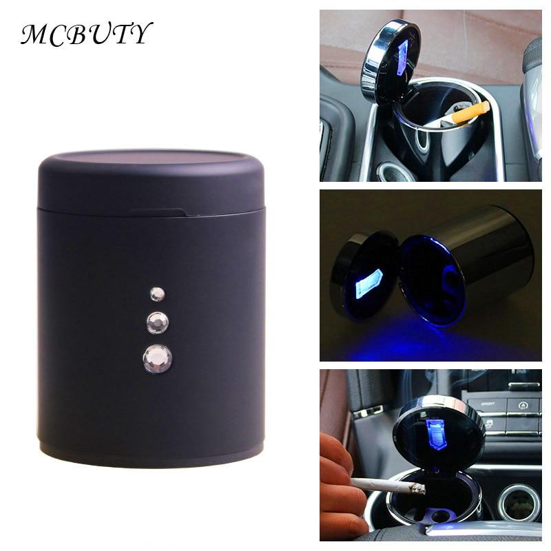 De aluminio de coche multifuncional Cenicero portátil automóvil Cenicero cigarrillo fumar Copa LED lámpara montada Cenicero