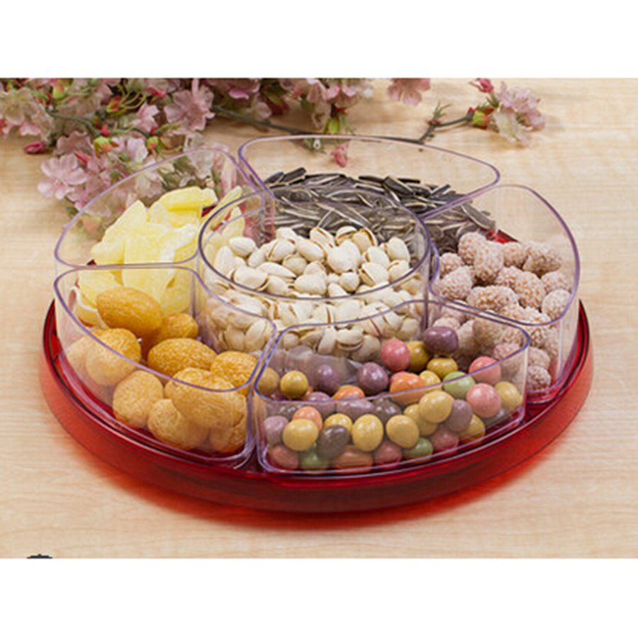 Topsky Dry Fruit Plate Candy Sugar Plate Dry Fruit Dish Plastic Living Room Sealed Moisture free Snack Tray in Storage Trays from Home Garden
