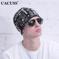 CACUSS Fashion Mens Summer Beanie Letter Prints Washed Cotton Turban Hats For BoyS Girls Hip Hop 2017 Hot Sale