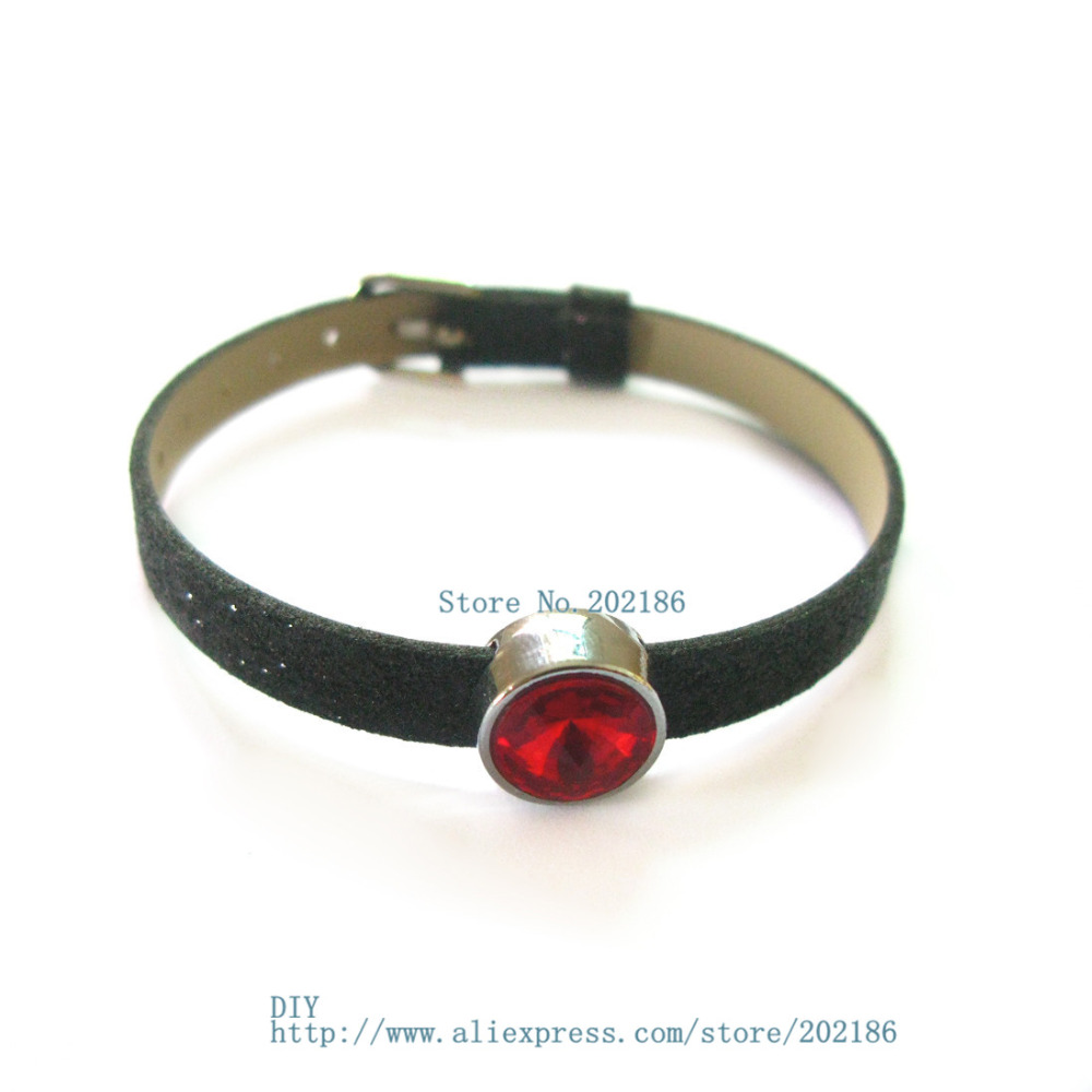 10pcs 8mm birthstone--July-Red slide Charms Jewelry Finding fit 8mm wristband pet collar key chain