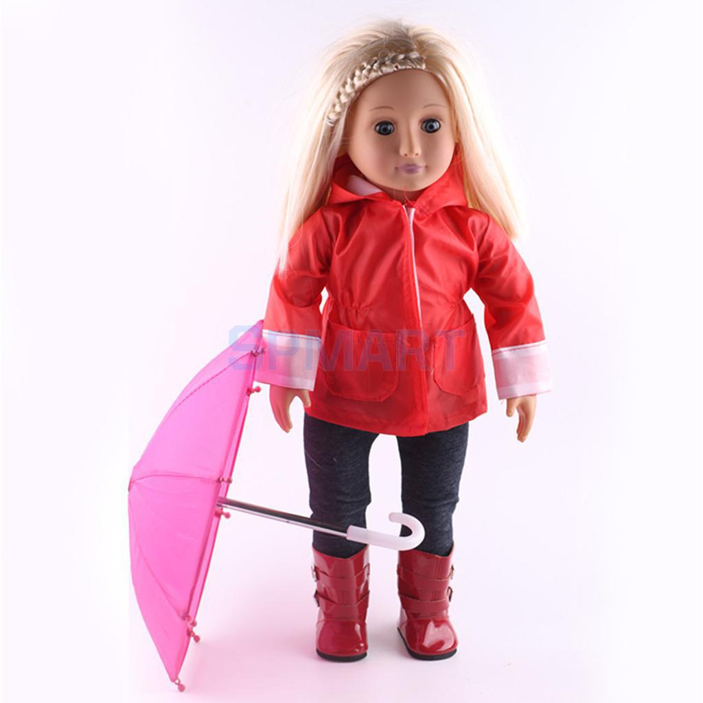 Rose Red Umbrella for 18 American Girl Doll Raincoat Accessories