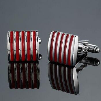 Copper quality enamel square stripes gold silver black flower cufflinks Top brand 4