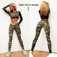 YD New GYM Fitness Tight Women Tracksuit Camouflage Stiching Sweatshirt Sets Yoga Sets Sport Wear Suit