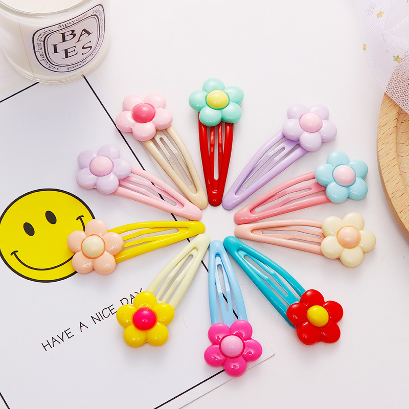 2PCS/Lot New Girls Colorful Resin Flower Hairpins Children Hair Clips Headband Kids Sweet BB Barrettes Fashion Hair Accessories
