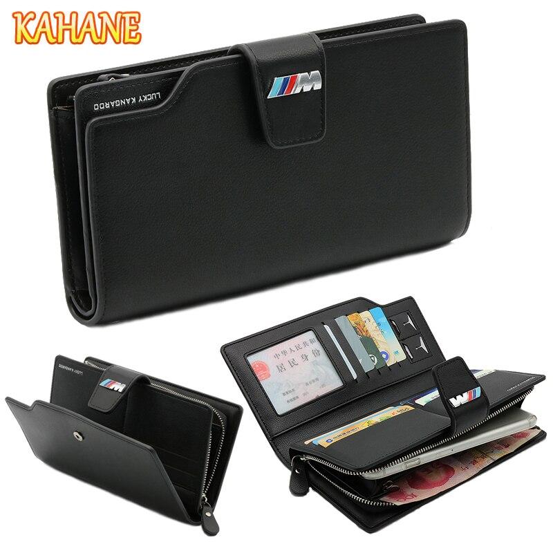 KAHANE Genuine Leather Man Wallet Car Driver License Bag Credit Card Bag Men Clutch Bag For BMW F20 F30 E30 E46 E60 E39 E36 E90