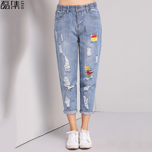 fd4f4ab80 flower embroidered jeans woman plus size loose vintage blue harem pants  Ankle-Length Ripped denim Trousers 4XL 5XL