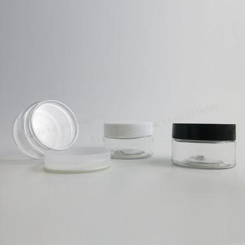 100 x 30g Empty Clear Pet Skin Care Cream Jar Pots With White Black Clear Lids  Seal  1oz Plastic Cosmetic Container