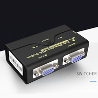 2PCS Stable Transfer VGA Splitter Durable Data Monitor Synchronization Laptop Switch 2 In 1 Out Computer Connection Adapter