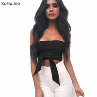 KoHuiJoo 2017 Sexy Strapless Strechable Women Bustier Bandeau Crop Top Tank Tops Tube Top Sleeveless Vester