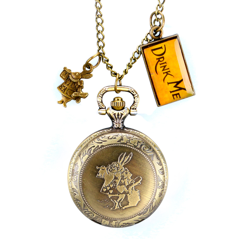 Vintage Bronze Necklace Modern Drink Me Tag Chain Pocket Watch Women Alice in Wonderland Cute Gift Rabbit alice in wonderland drink me tag rabbit quartz pocket watch gift set pendant necklace fob chain with gift box for women mens