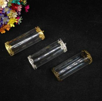 50pcs 40*15mm open tube jars glass globe button two flower tray glass bottle vial pendant fashion necklace glass dome vase gifts