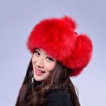 Rússia mulheres homens chapéu senhora chapéu de pele real Inverno pele de  raposa de prata Real eaecc2a7a36
