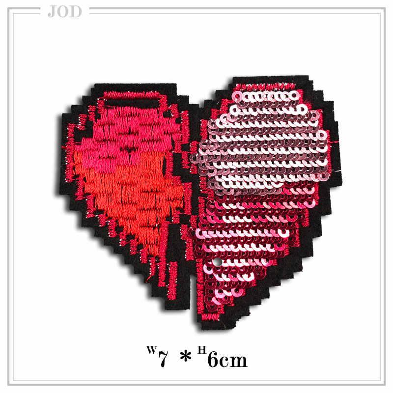 6 штук блестками термонаклейки Красное сердце любовь Аппликация DIY Швейные наклейки одежды Джинсовый Рюкзак декор обуви ремонт