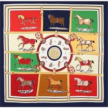 Women silk square scarf printing chain horse 60*60CM Good Qquality fashionable Apparel Accessories kerchief foulard